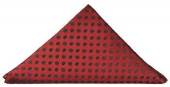 Red black polka dots pocket square | handkerchief Hv22