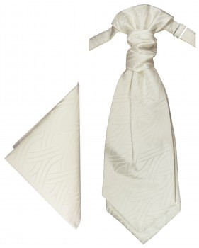 PAUL MALONE Plastron ascot tie with Hanky ivory PH25