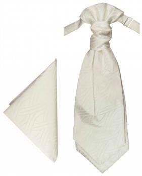 PAUL MALONE Plastron ascot tie with handkerchief ivory striped PH50