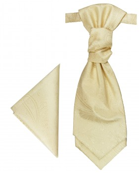 Cream cravat paisley | Ascot tie and pocket square | Wedding plastron PH27