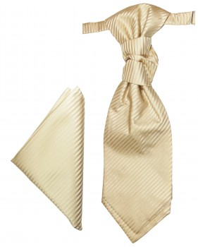 Cappuccino cravat striped | Ascot tie and pocket square | Wedding plastron PH28