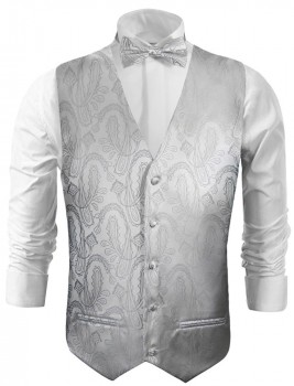 Wedding waistcoat - vest with bow tie silver paisley