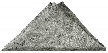 Gray paisley pocket square | handkerchief Hv30