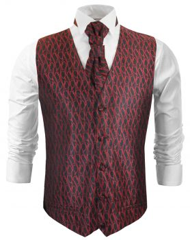 Black red wedding vest waistcoat with cravat