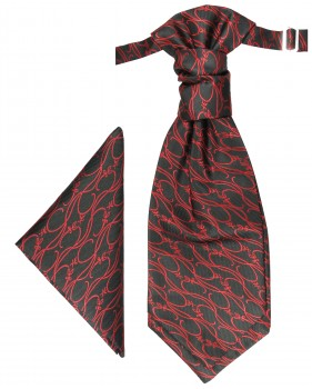 PAUL MALONE Plastron ascot tie with Hanky black red PH4
