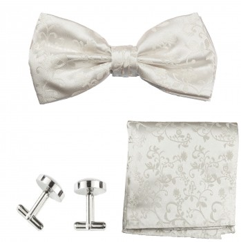 bow tie ivory floral with pocket square