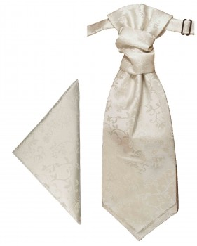 Ivory floral cravat | Ascot tie and pocket square | Wedding plastron PH51