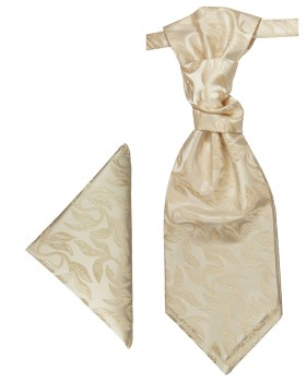 Cappuccino cravat floral | Ascot tie and pocket square | Wedding plastron PH42
