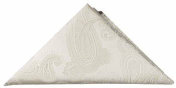 Ivory paisley pocket square | handkerchief Hv44