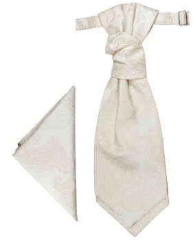 PAUL MALONE Plastron ascot tie with handkerchief ivory PH52