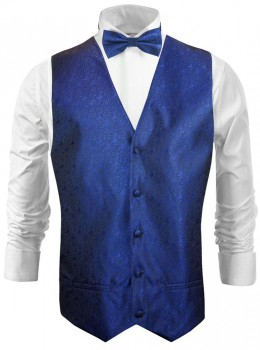 Wedding waistcoat - vest with bow tie royal blue