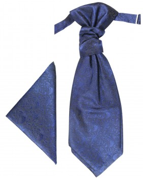 Blue cravat | Ascot tie and pocket square | Wedding plastron PH8