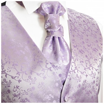 Purple lilac wedding vest floral waistcoat with cravat