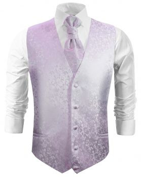 Purple floral wedding vest waistcoat with cravat