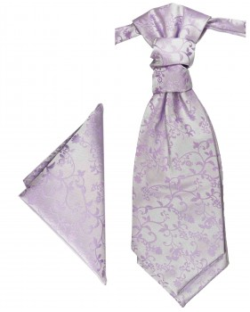 Purple lilac cravat floral | Ascot tie and pocket square | Wedding plastron PH93