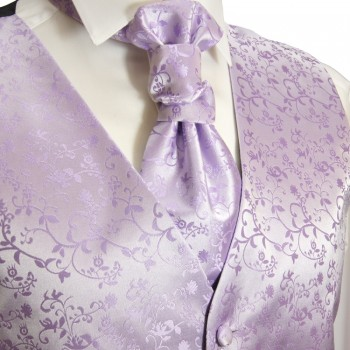 tuxedo vest purple lilac wedding waistcoat and ascot tie v93