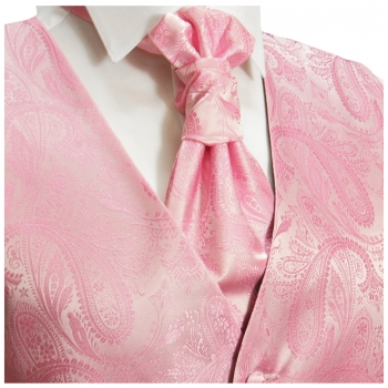 WEDDING VEST SET pink + SLIM LINE Shirt white V94HL30