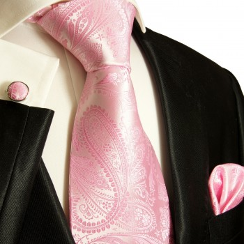 Pink mens tie for wedding paisley pattern v94