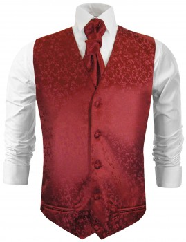 Bordeux floral wedding vest waistcoat with cravat