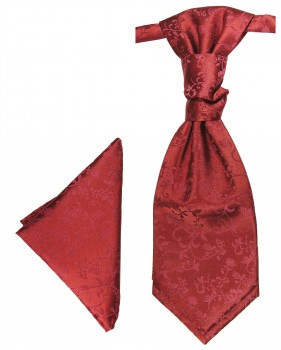 Burgundy red cravat floral | Ascot tie and pocket square | Wedding plastron PH95