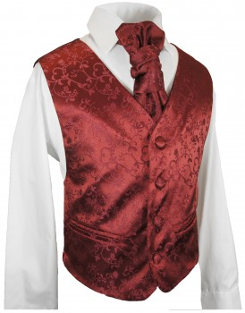 kids waistcoat set 3 pcs. maroon red vest, plastron, shirt