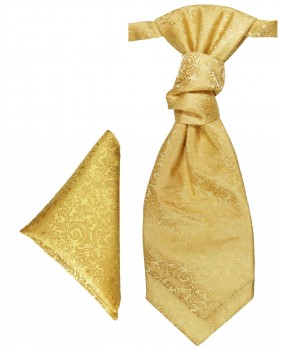 Gold cravat baroque | Ascot tie and pocket square | Wedding plastron PH97