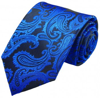 Blue paisley necktie groom wedding mens tie v98