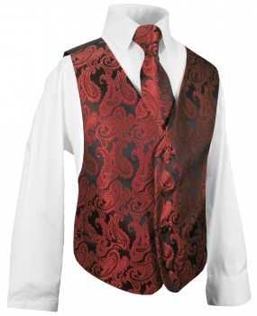 kids waistcoat set 3 pcs. red black vest, tie, shirt KV99