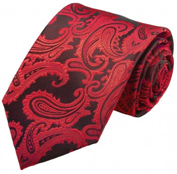 Red paisley necktie groom wedding mens tie v99