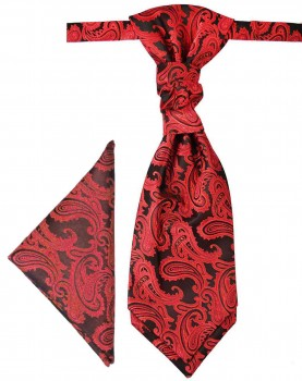 Red cravat paisley | Ascot tie and pocket square | Wedding plastron PH99