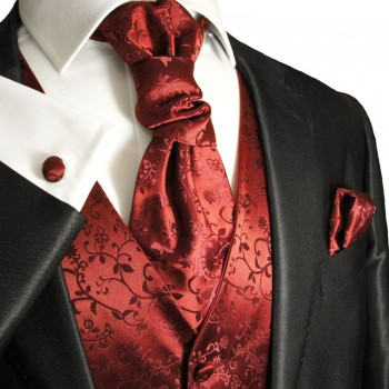 Wedding vest set with Ascot tie maroon