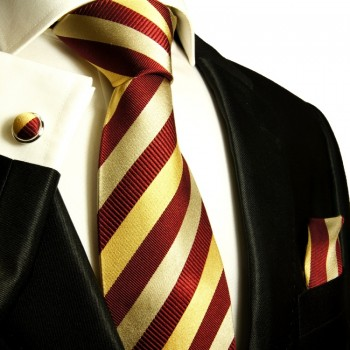 Maroon red necktie set 3pcs + handkerchief + cufflinks 245