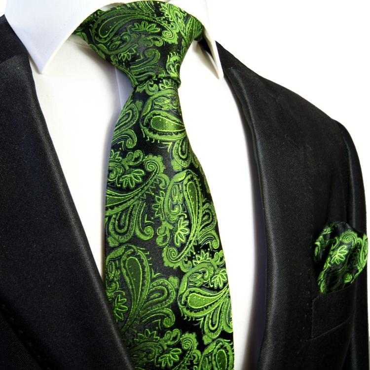 gruen paisley krawatten set 2tlg 100 seide einstecktuch 379 paul malone shop. Black Bedroom Furniture Sets. Home Design Ideas