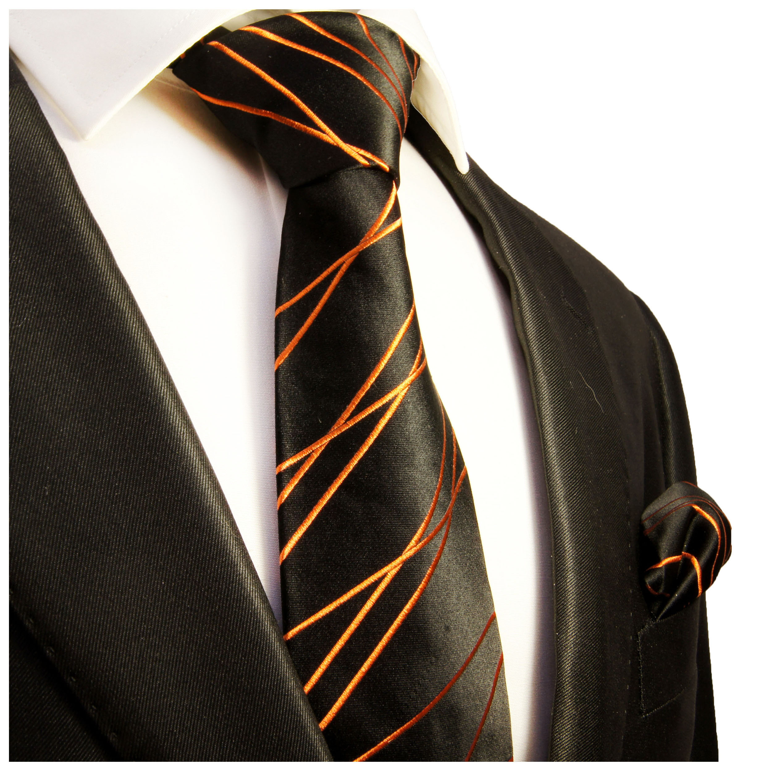 paul malone shop schwarz orange krawatte 100. Black Bedroom Furniture Sets. Home Design Ideas