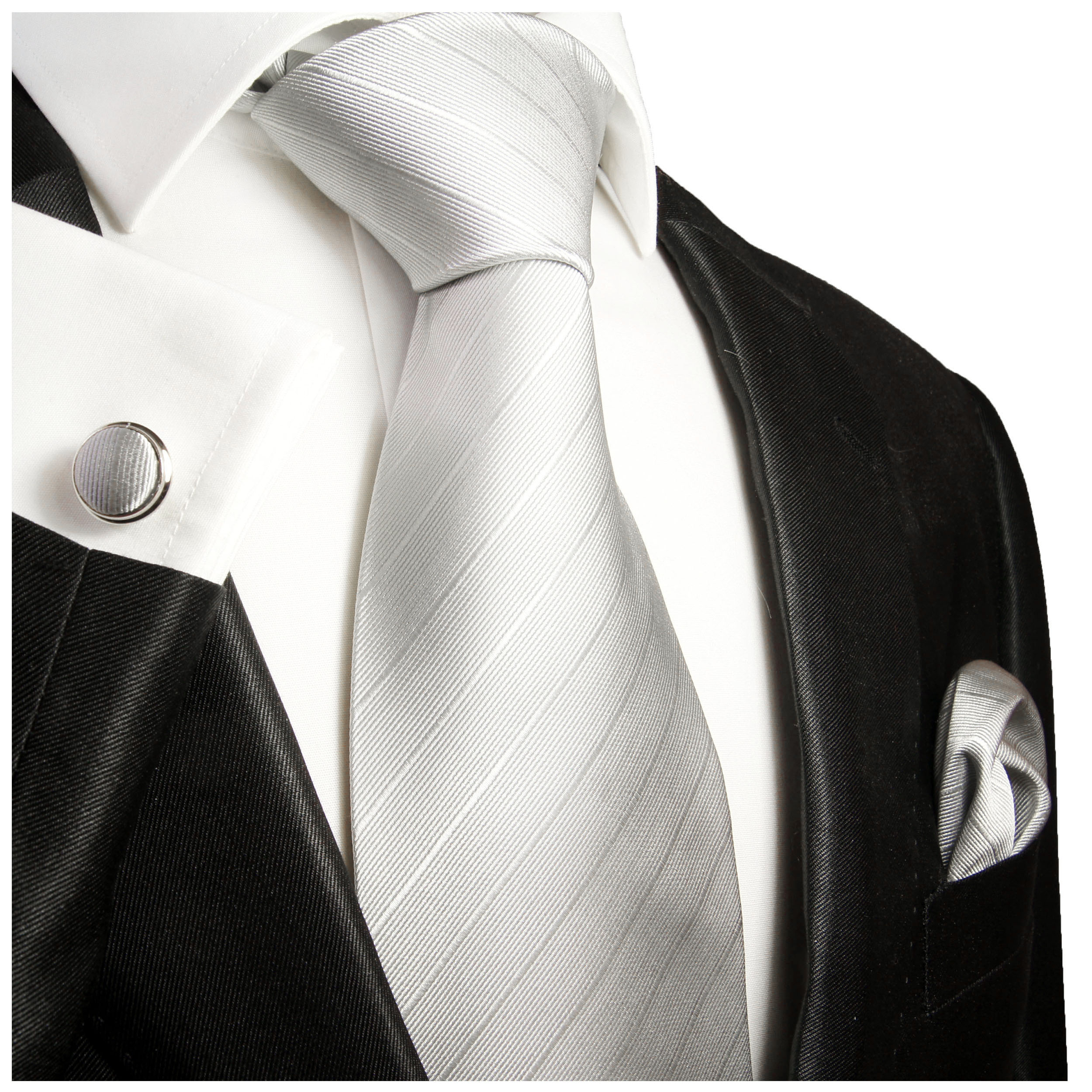 8ff808b8b0f1 Solid silver mens tie and pocket square with cufflinks silk necktie