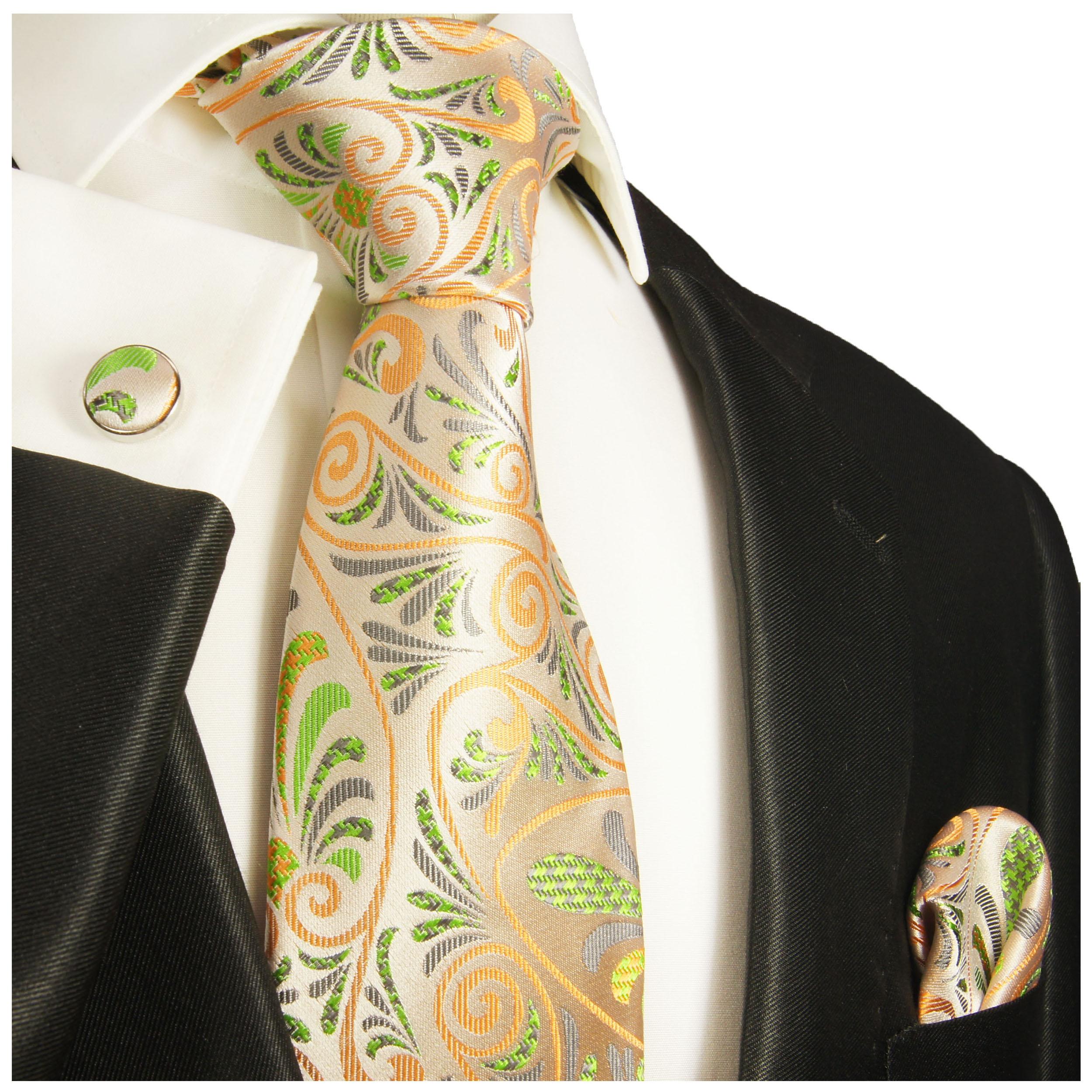 paul malone shop orange gr n florale krawatte 100. Black Bedroom Furniture Sets. Home Design Ideas