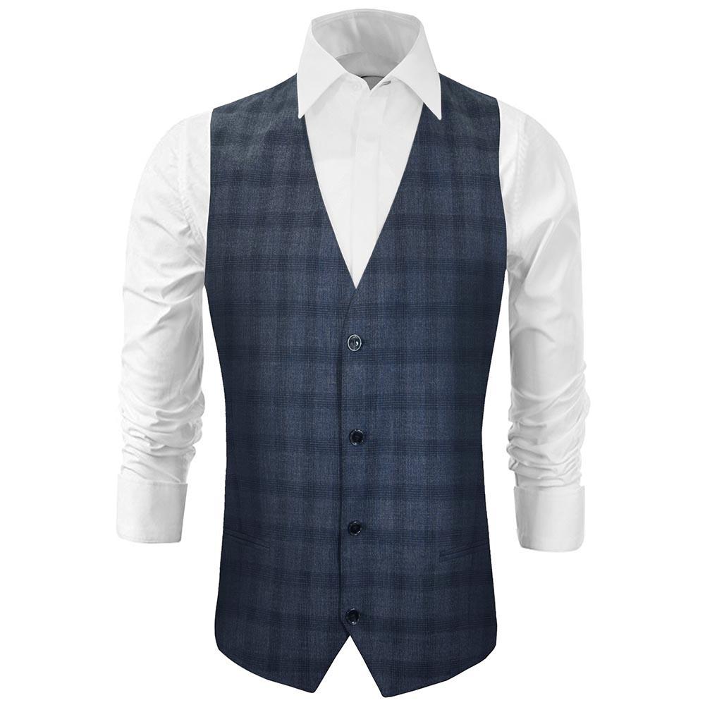 quality design 14d82 0aef2 Herren Weste blau grau kariert - Slim Fit - Anzug Weste für Männer