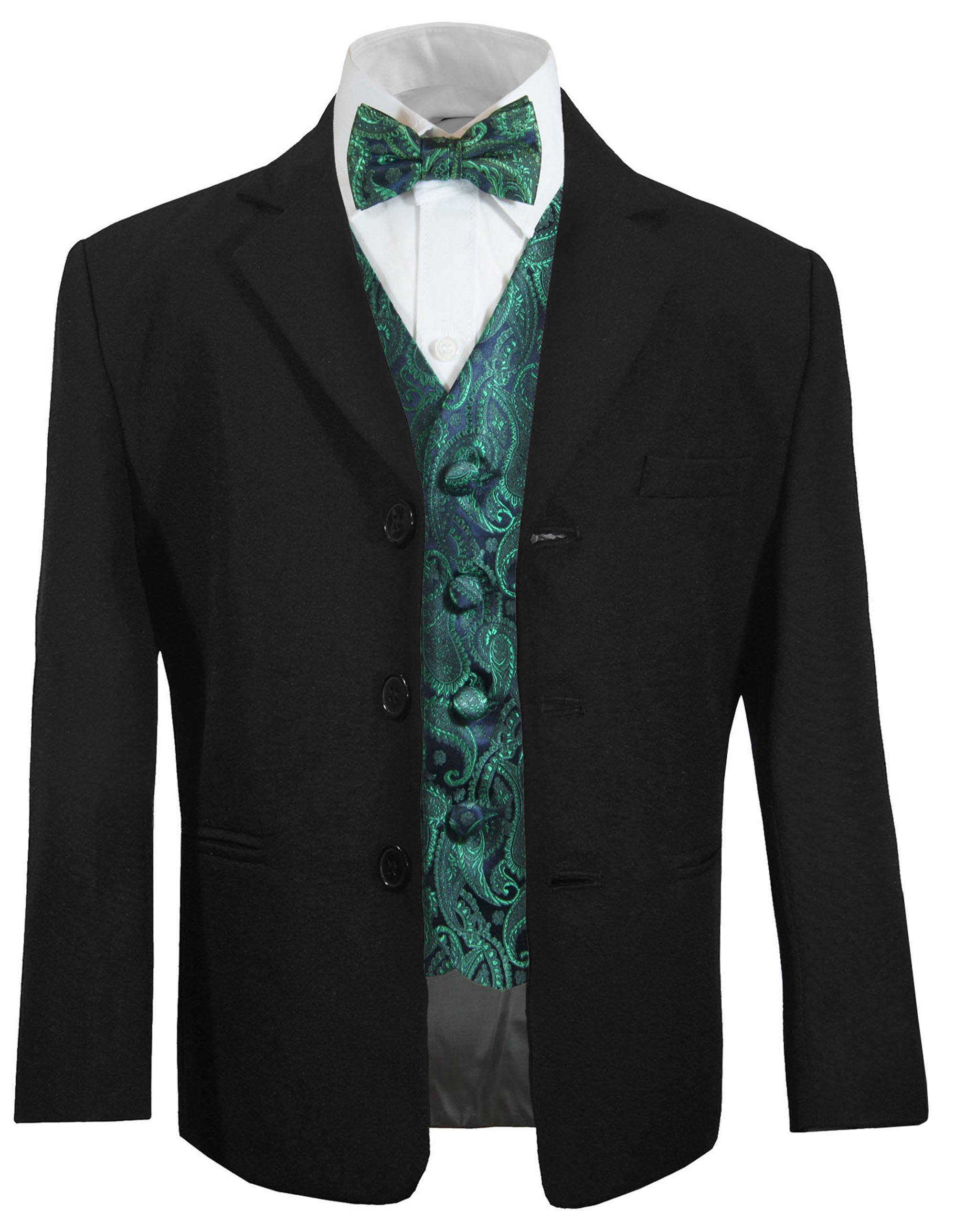 Formal Wear Boys Suit  Paisley Tuxedo Vest,Bow tie,Tie,Pocket Square Wedding Nwt