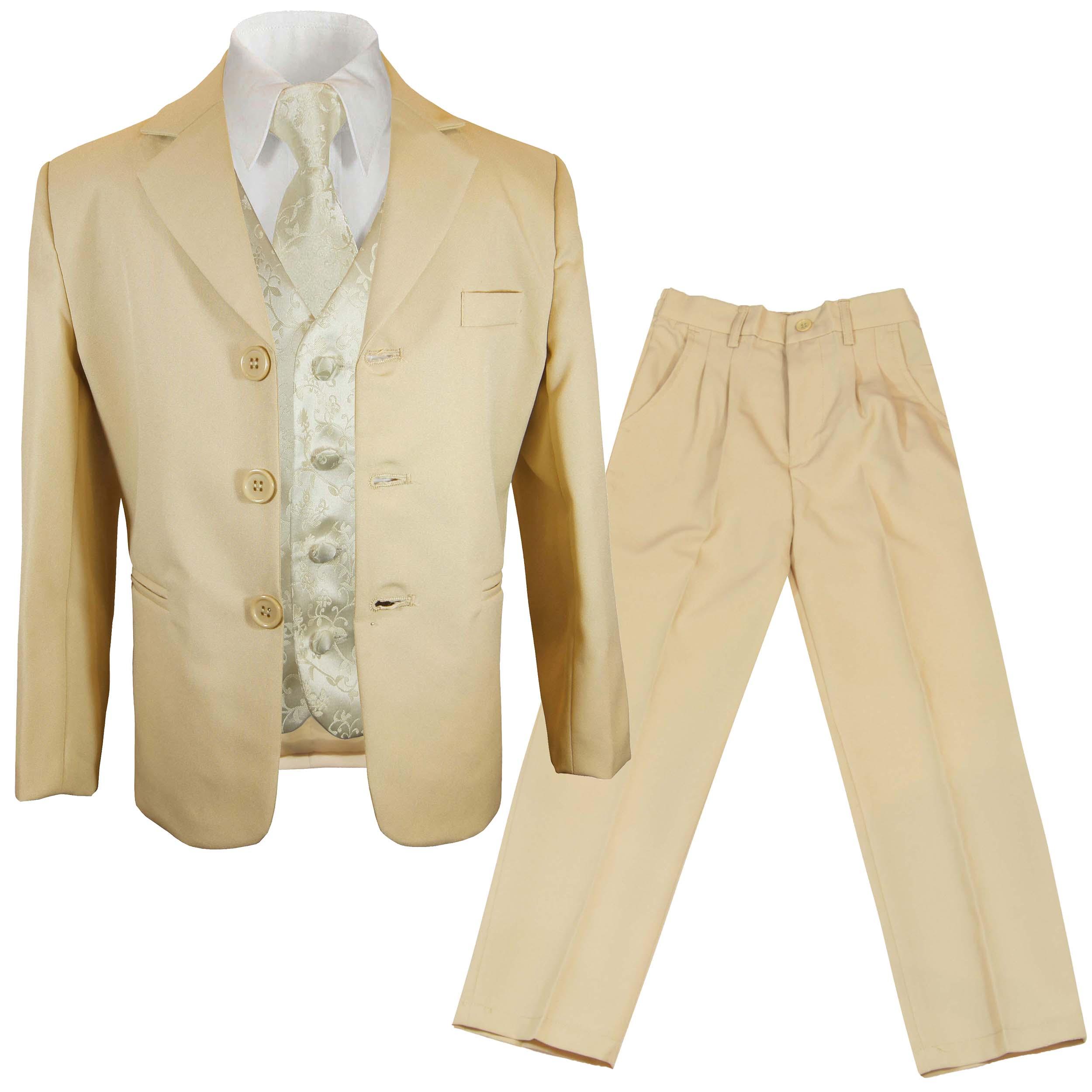 Kommunionanzug beige + champagner Weste Paul Malone Shop