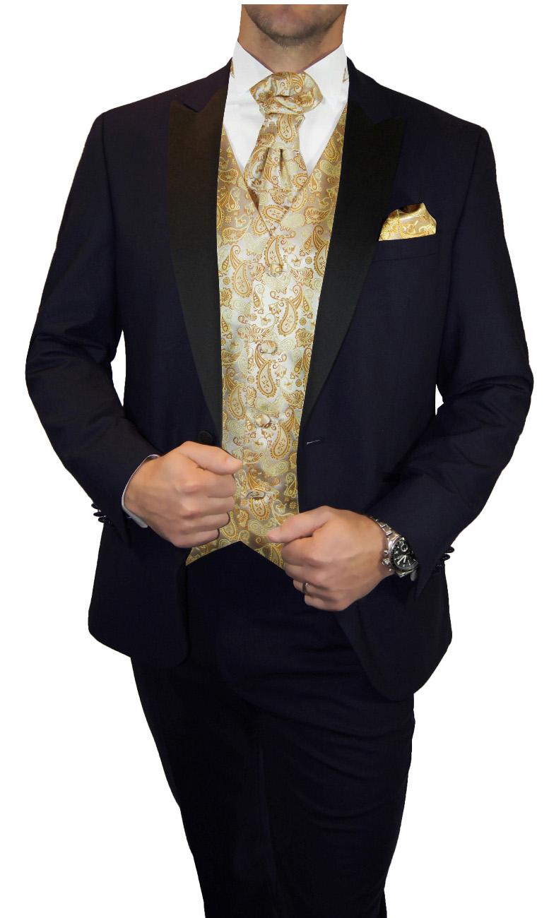 817b5306f16 Blue wedding suit for men | tuxedo set 6pcs (Slim Fit) + Wedding vest gold  paisley