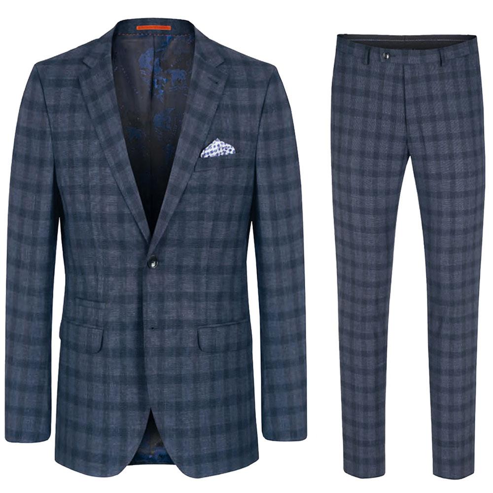 reputable site 3c8c8 99857 Herren Anzug blau kariert | Slim Fit - Stretch | Karierter Anzug für Herren