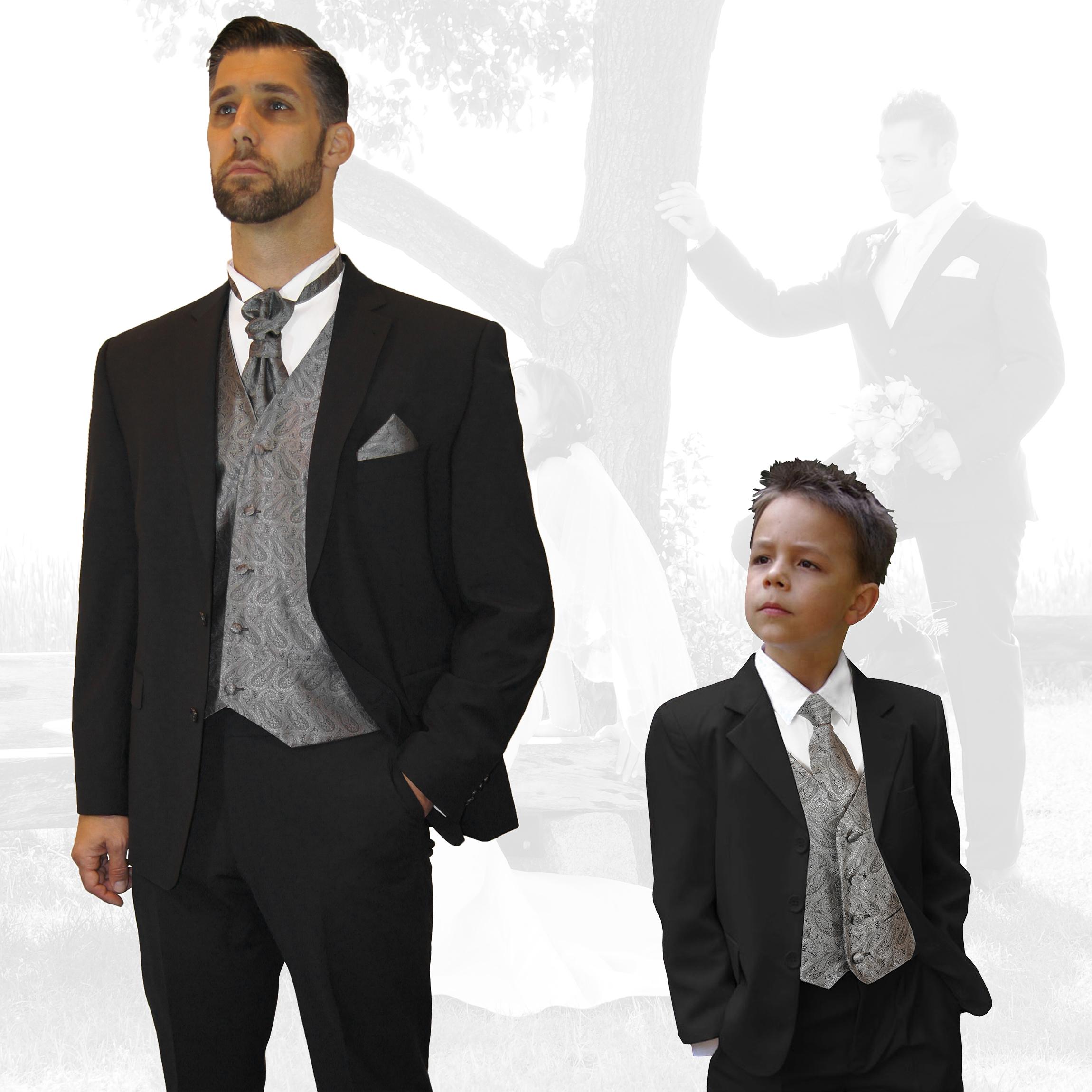 c1f029b6f6ced3 Partnerkombi - schwarz und grau paisley Hochzeitsanzug Set 7tlg +  Festlicher Jungenanzug Set 5tlg