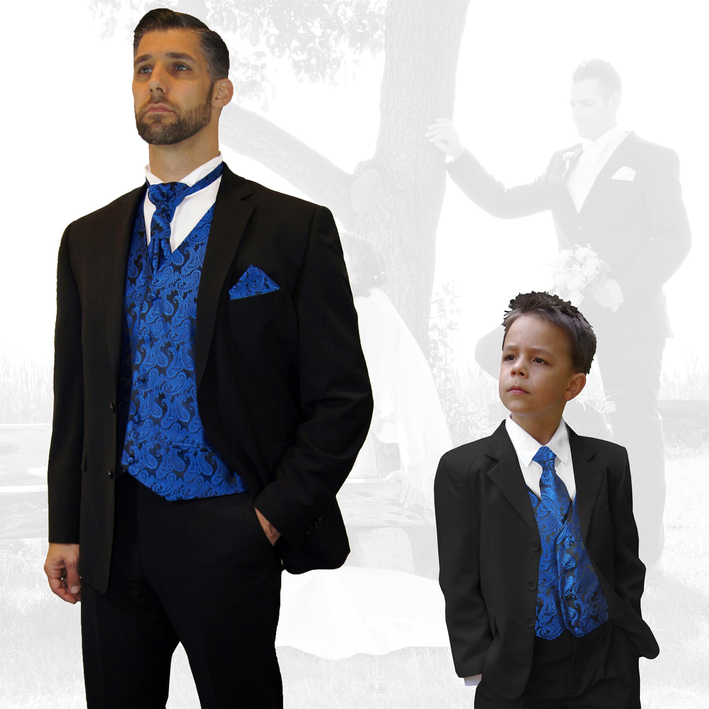 Partnerkombi Schwarz Und Blau Hochzeitsanzug Set 7tlg Festlicher