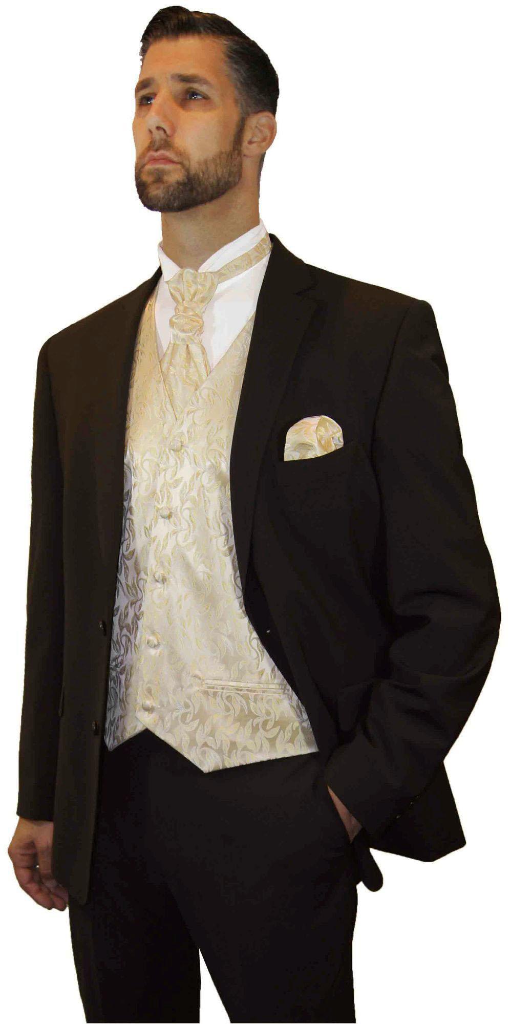 c4e576f37dcb1c Brauner Hochzeitsanzug modern mit Hochzeitsweste creme gold | Bräutigam  Hochzeit Anzug Herren