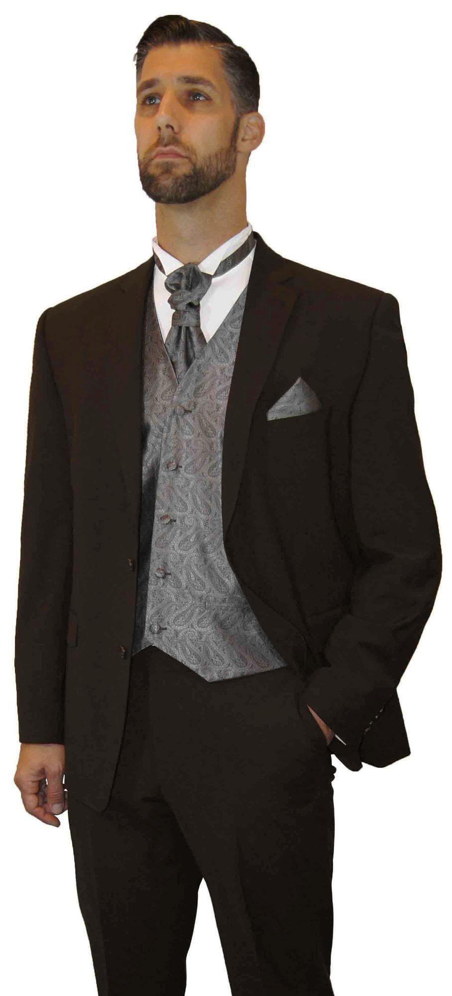 Hochzeitsanzug Braun Modern Herren Weste Silber Grau Paisley