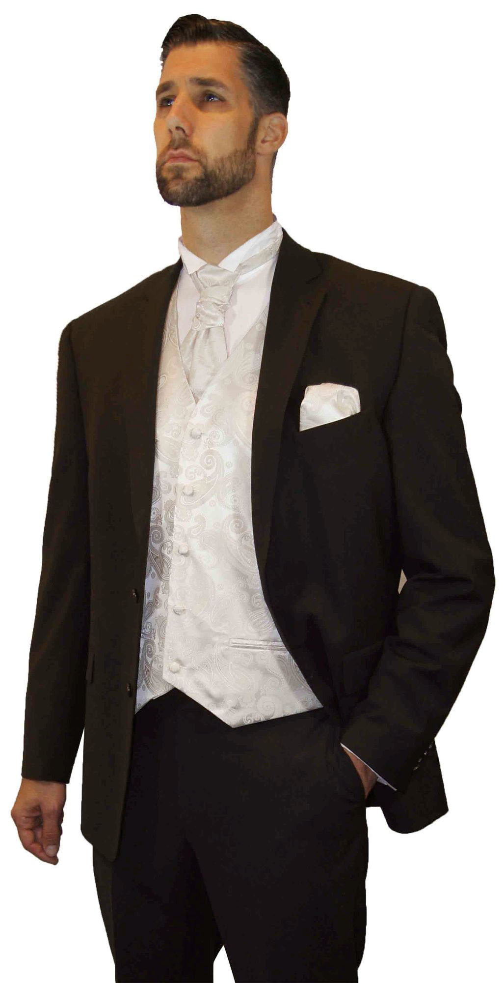 new style 913bb 3d29f Hochzeitsanzug Set 7tlg. braun -Stretch-   Herren Weste ivory paisley    Hochzeitshemd weiß
