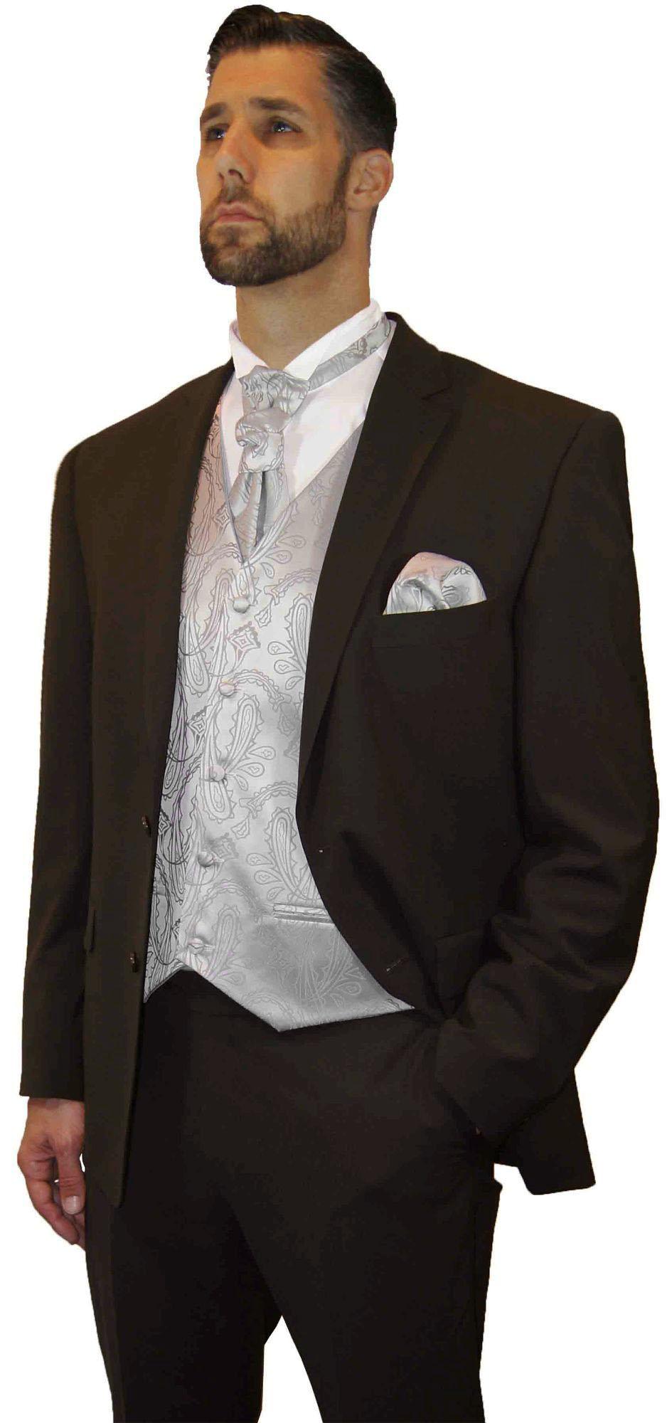 Brown Men S Suit Tuxedo Silver Paisley Vest Set White Wedding