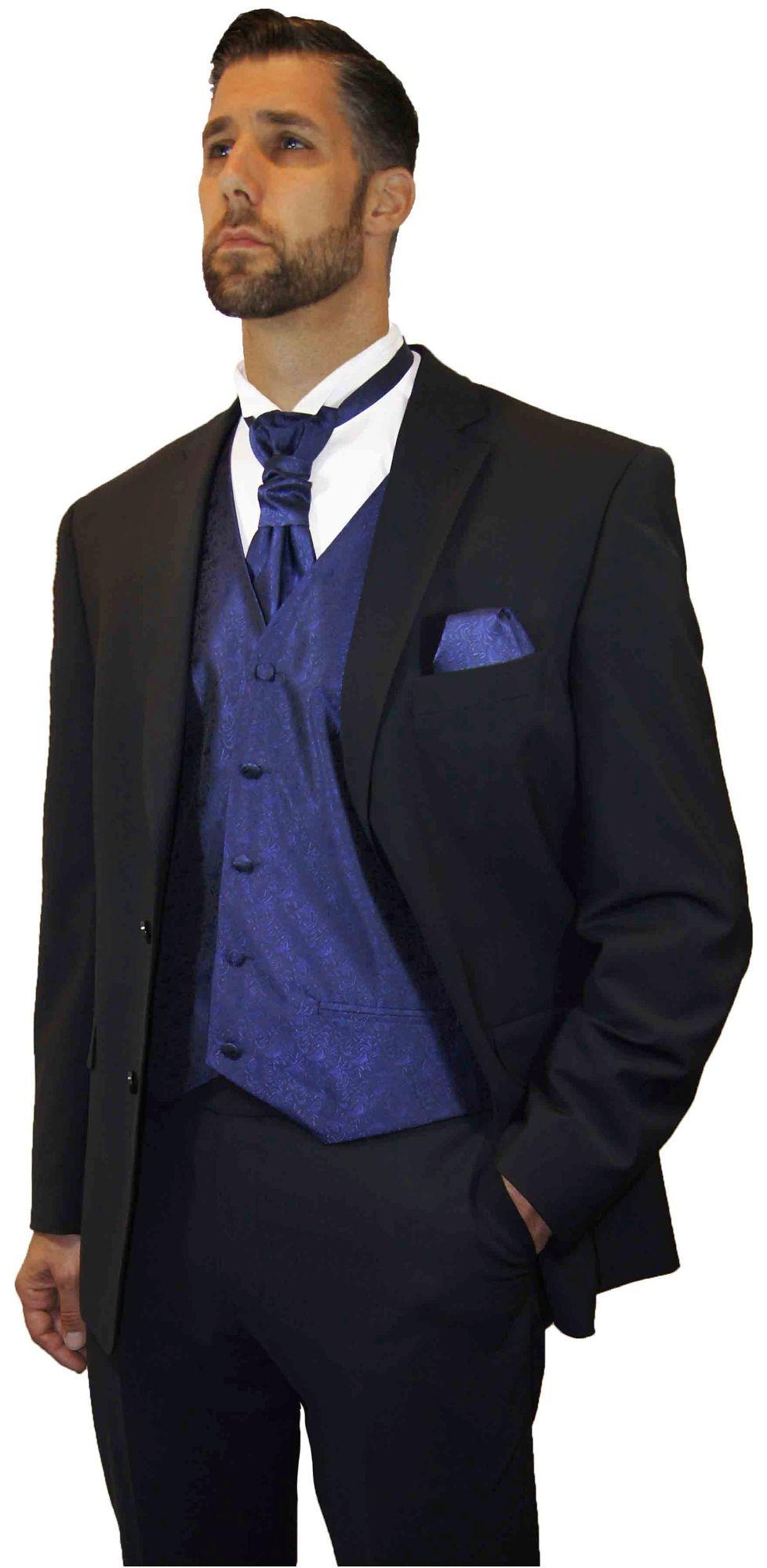 Hochzeitsanzug Schwarz Modern Festliche Weste Blau Gunstig