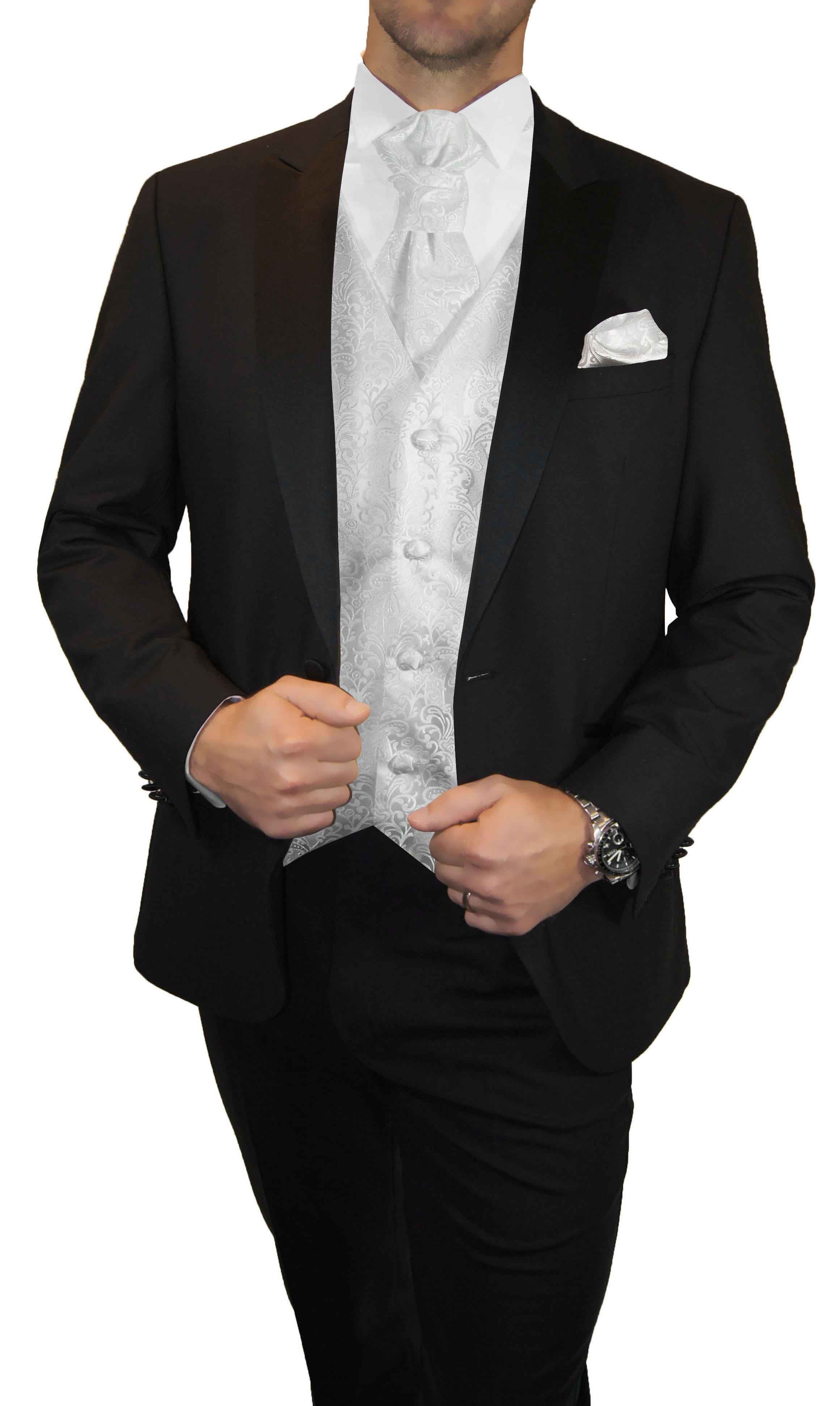 Wedding Tuxedo Suit Set 6pcs Black Slim Fit Incl Wedding Vest White Baroque