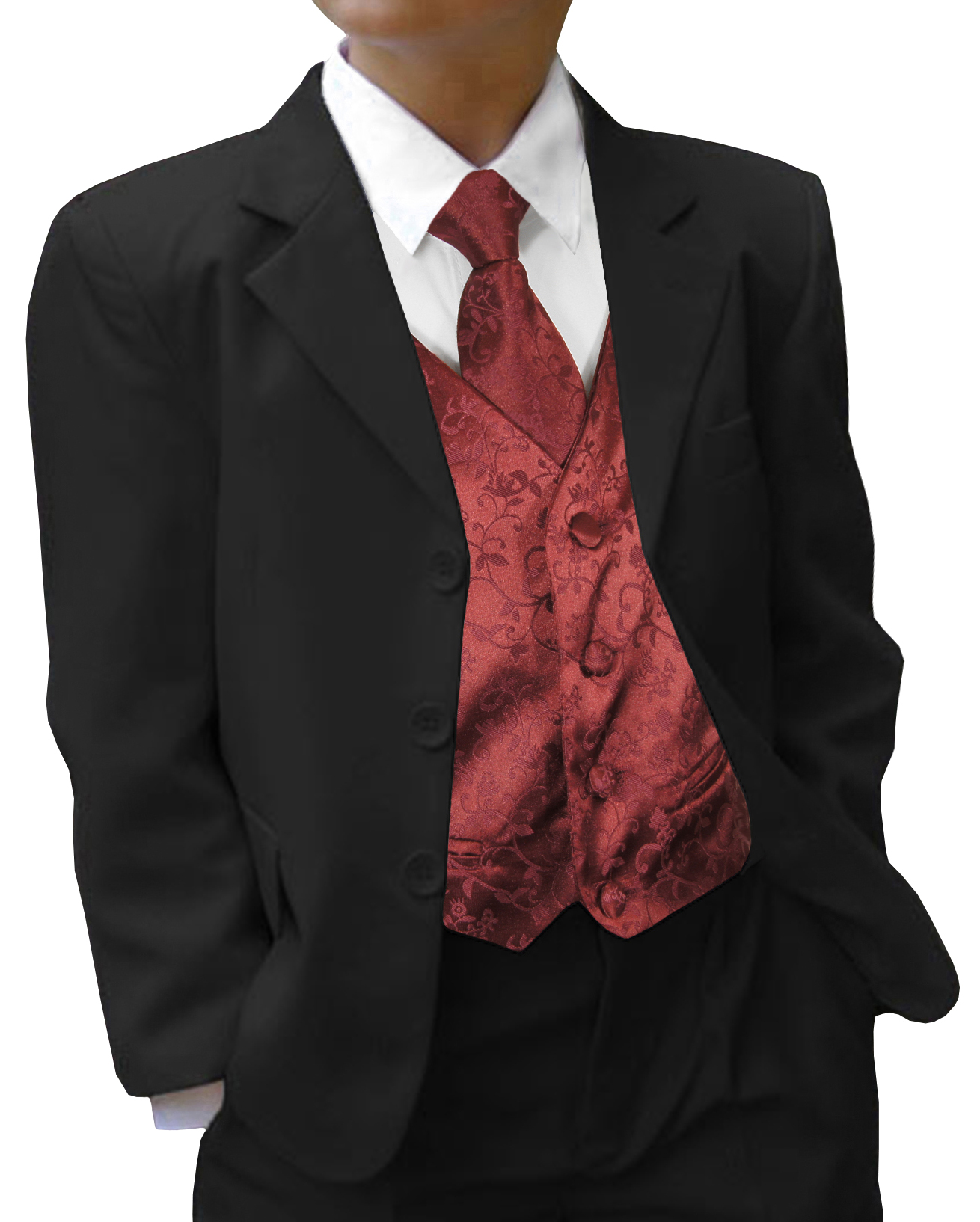 Paul Malone Shop - Wedding tuxedo black with boys suit black red